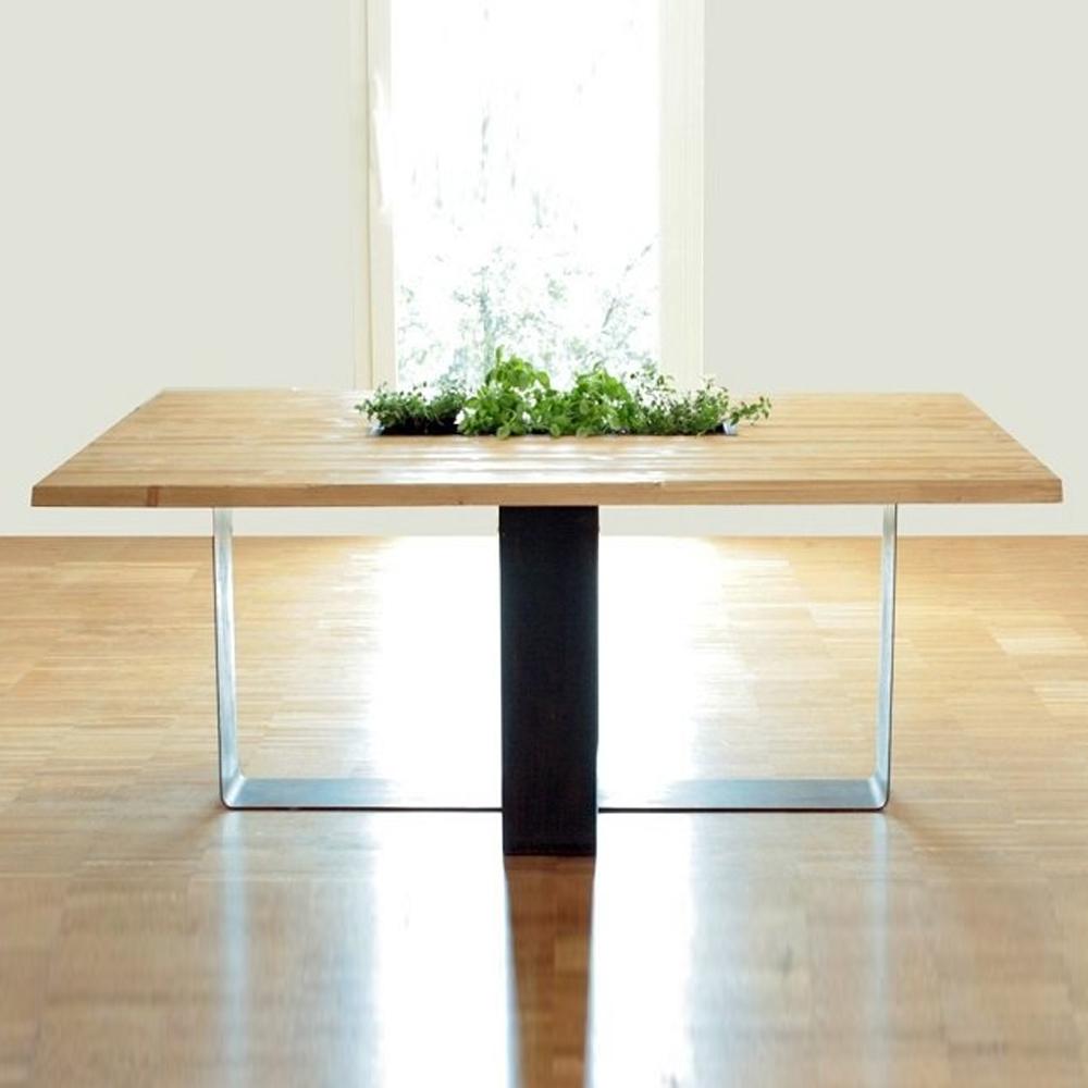 tavolo in legno e corten coltivable