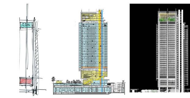L 39 edificio di renzo piano a torino una torre che vola for Progetti di renzo piano