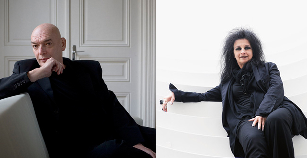 A sinistra, Jean Nouvel (Peter Marlow © Magnum Photo ); a destra, Odile Decq