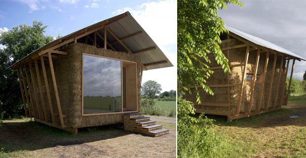 micro architettura in paglia eco padiglione nel cuore