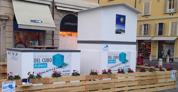 caption:l'allestimento in piazza Garibaldi.
