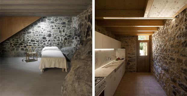 La rinascita di el bosquet il rifugio in pietra e legno for Due piani camera da letto con due bagni