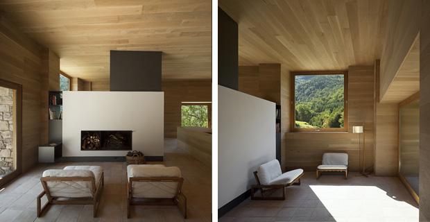 La rinascita di el bosquet il rifugio in pietra e legno for Piani di casa con camino a doppia faccia