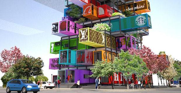 Ogni camera un container l edificio futuristico e riciclato for Case futuristiche