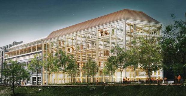 Shigeru ban progetta sette piani di struttura in legno a for Piani di coperta ad alta elevazione