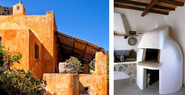 caption: A sinistra, una casa tradizionale eoliana situata sulla costa orientale di Panarea. (Foto di Adriano Bacchella); a destra il tradizionale forno eoliano a cupola. ( Foto dell'agriturismo CasaGialla).