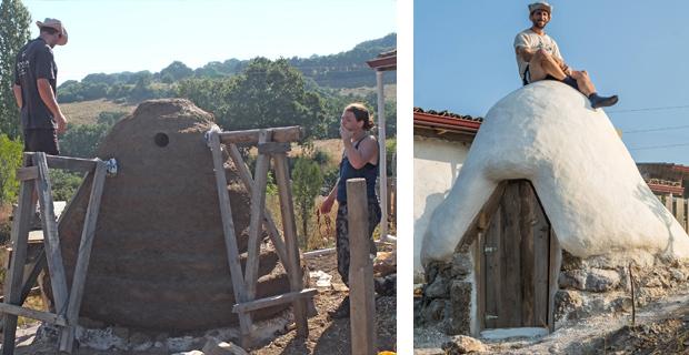 caption: a sinistra, la cupola con il primo strato d'intonaco; a destra,la cupola terminata e Xavier Allard. Foto di Xavier Allard.