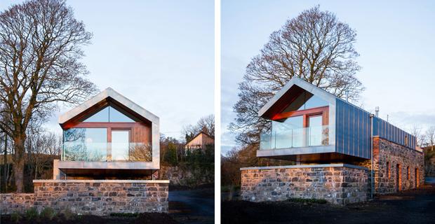 Pietra e acciaio per il recupero di un vecchio fienile for Casa moderna con tetto in legno