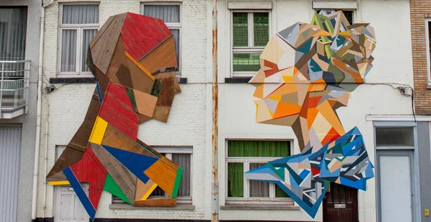 murales 3d con porte riciclate la street art si fa green. Black Bedroom Furniture Sets. Home Design Ideas