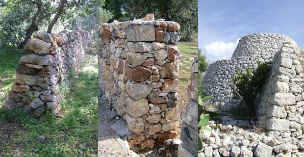 caption: A sinistra un muro a secco di confine con struttura rastremata, al centro un muro a secco con struttura non rastremata, a destra una tipica struttura a secco pugliese (detta pagghiaro) in cui il muro diventa elemento strutturale.