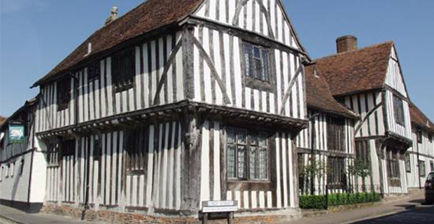 caption: Tudor house a Lavenham nel Suffolk, Regno Unito