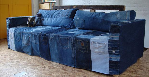 Riciclo dei vecchi jeans diventano elementi di arredo for Riciclo arredo