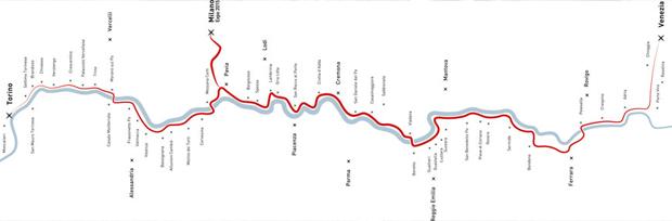 caption: il percorso di VenTo da Venezia a Torino.