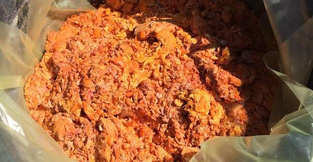 caption: Il pastazzo lavorato nell'impianto installato a Mussomeli, in provincia di Caltanisetta. Fonte: chimici.info