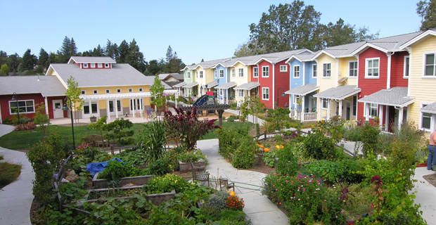 caption: Petaluma Avenue Homes, un esempio di comunità in cohousing a Sebastopol, Calif. Foto di Schemata Workshop.
