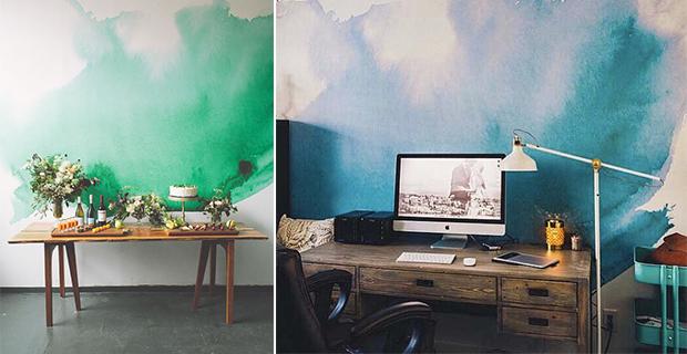 Idee per dipingere le pareti sfondi acquerellati e for Disegni geometrici per pareti