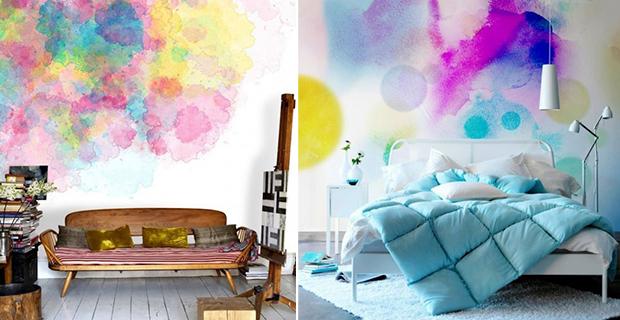 Idee per dipingere le pareti sfondi acquerellati e paesaggi naturali - Stampi per decorare pareti ...