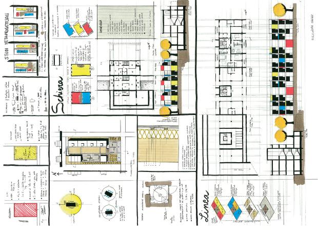 caption: Casa a schiera + in linea, Tema Pescara I sessione 2005, tavola Arch. Eleonora Maggi