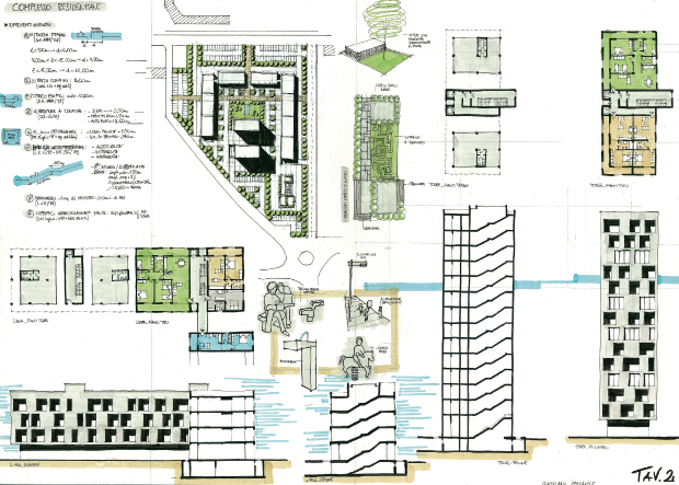 caption: Casa in linea e a torre, Tema Milano I sessione 2000, Arch. Giuliana Gigante.