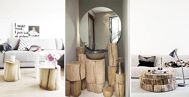 tronchi di legno per arredamento