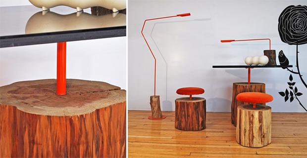 Naturehome albero tronco sgabello legno massello schwarz natur