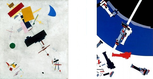 "caption: a destra dipinto ""Il Suprematismo"" di Kazimir Malevich (1915); a destra pittura ""Malevich's Tektonic"" di Zaha Hadid. © Zaha Hadid Architects"