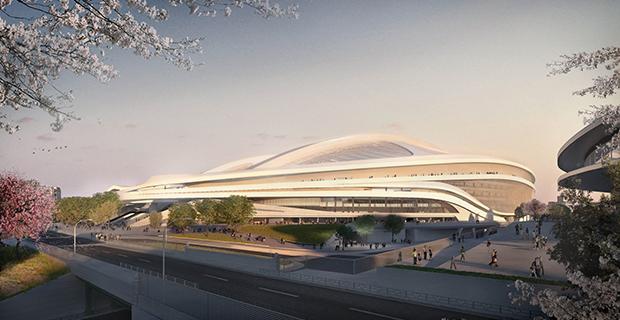 caption: New National Stadium, Tokyo, Render di progetto © Zaha Hadid Architects