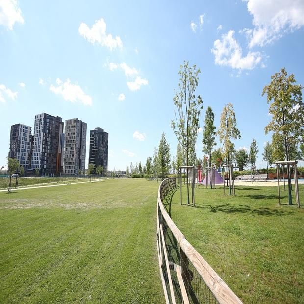 Il parco del quartiere a impatto zero UpTown a Milano.